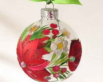 red poinsettia christmas ornament handmade christmas gift christmas tree ornaments christmas balls handpainted ornament - Poinsettia Christmas Decorations