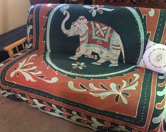 Futon Cover Bohemian Print with Anchor Bands