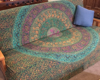 Futon cover with anchor bands, dorm decor, bohemian print