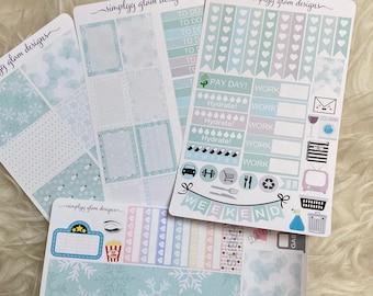 Winter Wonderland Themed Weekly Planner Sticker Kit   Erin Condren & Plum Paper Planner