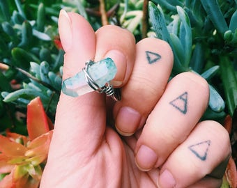 Silver Wire Wrapped Light Blue Quartz Ring