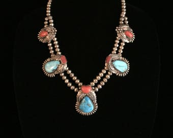 Navajo Indian Sterling Turquoise & Coral Squash Blossom Necklace ~1970's Signed Silver Tribal Old Pawn Native American~Roy Buck Jewelry~