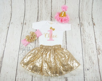 3932d8d1d 1st birthday outfit, first girl birthday outfit, pink birthday outfit, pink  and gold birthday outfit, first birthday outfit, second birthday