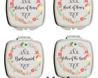 personalized bridal party-compact mirror-bridal party gifts-mirror~Bridesmaid-Wedding party favors