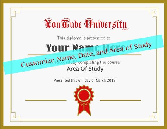 Custom Youtube University Diploma, Funny Fake Certificate, Instant Digital  Printable, Funny Gift for Him, Funny Birthday gift, Gift for Her