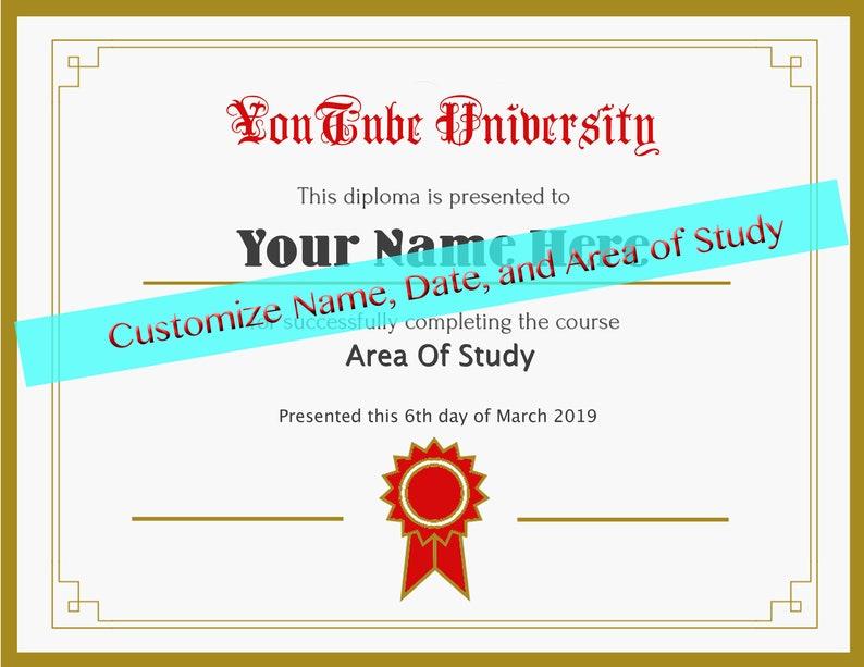 Custom Diploma Youtube Fake University Etsy Certificate Funny