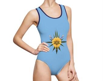 Blossom (Sky) Women's Classic One-Piece Swimsuit