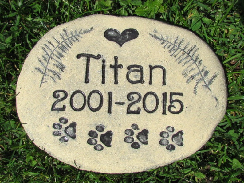 Personalized Garden Stones Pet Remembrance Art Stamped Name Heart Ferns Cat Or Dog Paw Prints 8 Ceramic Pottery Plaque