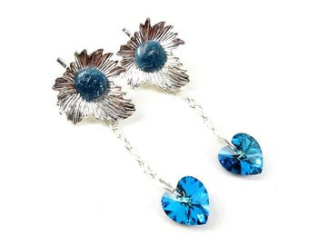 Blue heart earrings and silver leaf