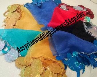 10 Assyrian scarves,big sequins
