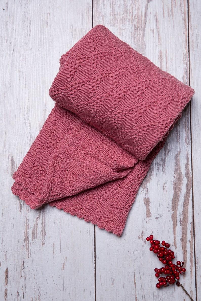 Rose color merino wool knitted baby girl blanket image 0