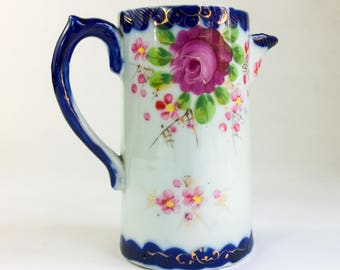 Beautiful Vintage Hand Painted Milk Pitcher