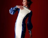 Long White and Blue Latex Gown