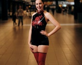 Black and Red Latex Body and Stockings