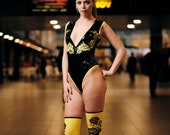 Black and Yellow Latex Body and Stockings