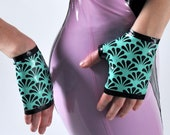 Turquoise Latex Gauntlets
