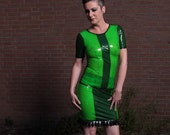 UV Green Latex Top and Skirt