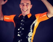 Black and Orange Latex Man's Shirt