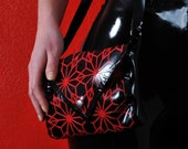 Latex black and red handbag