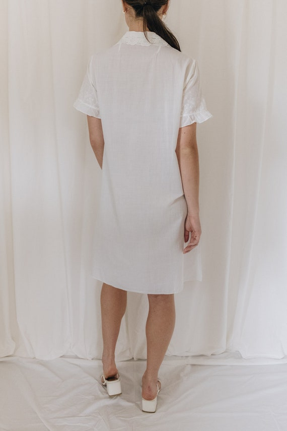 White Cotton Embroidered Button Down Dress - image 5