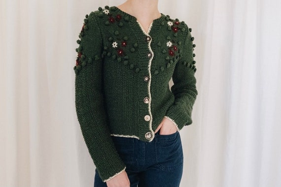 Wool Green Pom Pom Floral Embroidered Austrian Swe