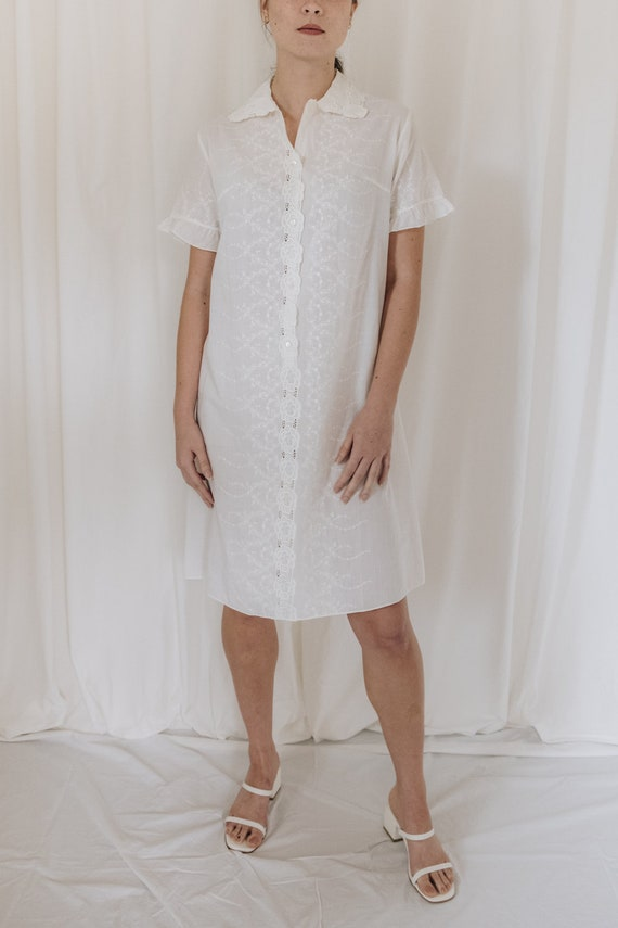 White Cotton Embroidered Button Down Dress - image 2