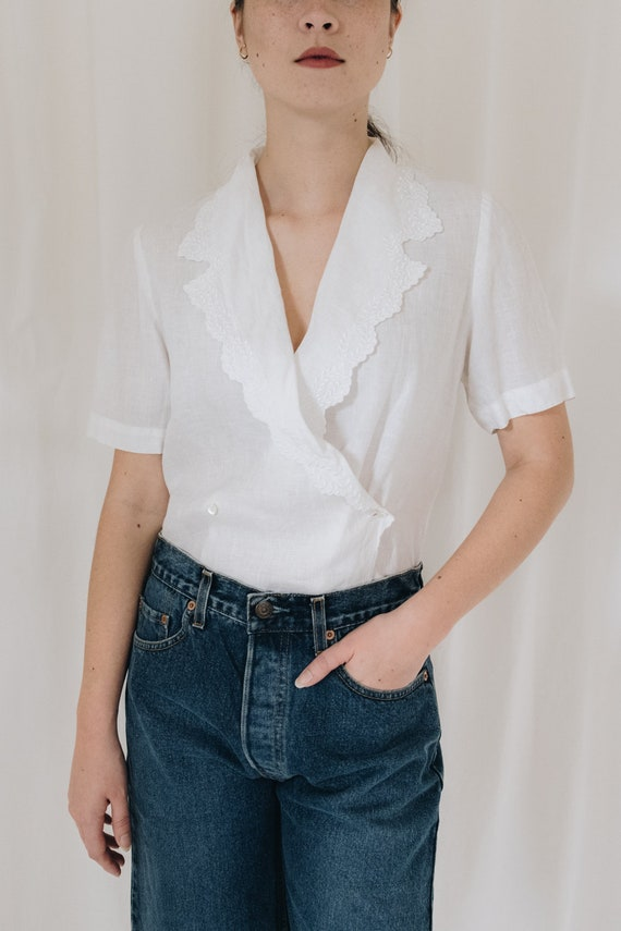 White Linen Double Breasted Blouse - image 2