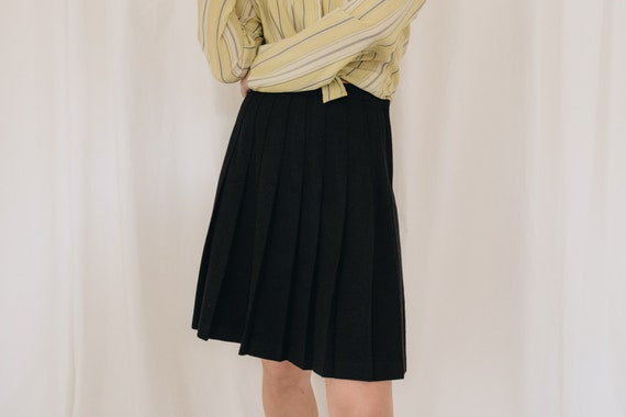 Wool Black Pleated Skirt