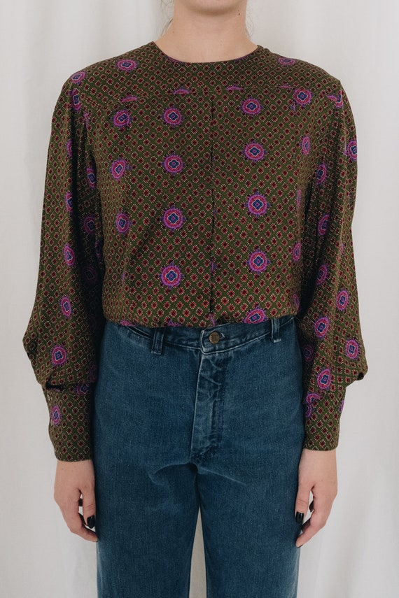 Silk Olive Printed Puff Sleeve Blouse - image 2