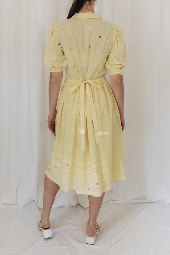 Yellow Cotton Puff Sleeve Dress - image 5