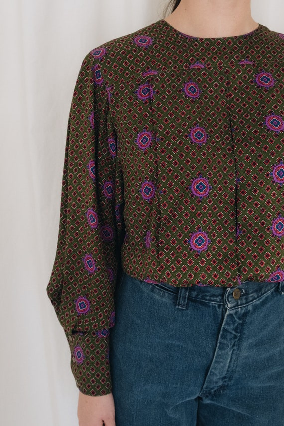 Silk Olive Printed Puff Sleeve Blouse - image 3