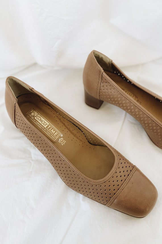 Leather Tan Square Toe Low Heels - image 3