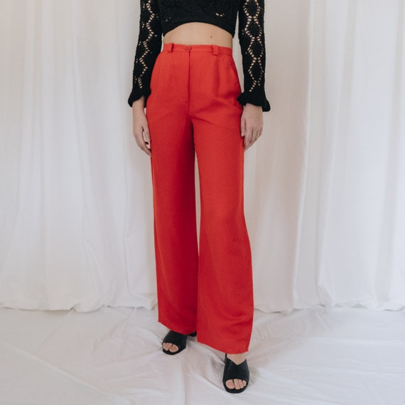 Linen Tomato Red Trousers