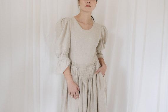 Linen Wheat Austrian Puff Sleeve Dress