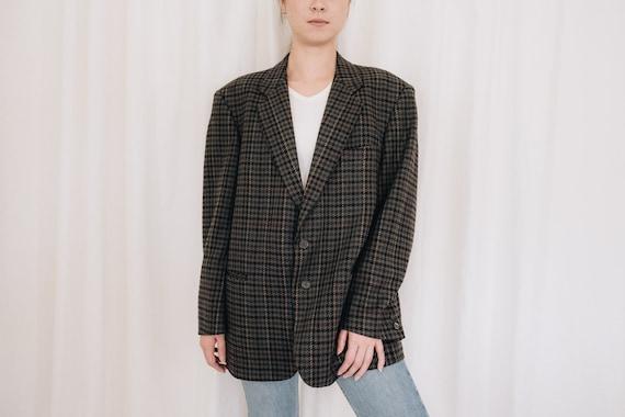 Wool Jewel Tones Houndstooth Blazer