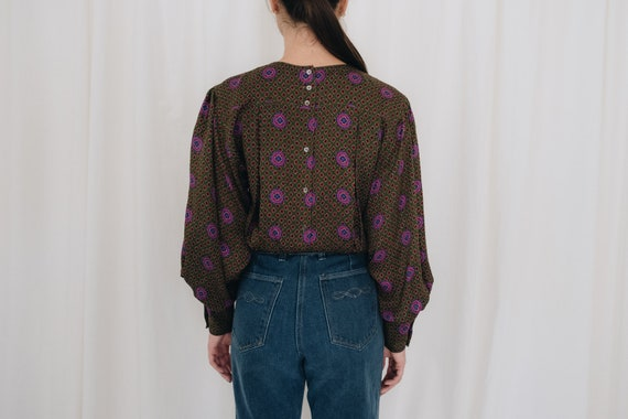 Silk Olive Printed Puff Sleeve Blouse - image 5