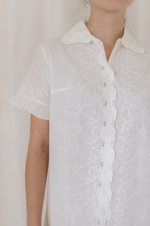 White Cotton Embroidered Button Down Dress - image 4