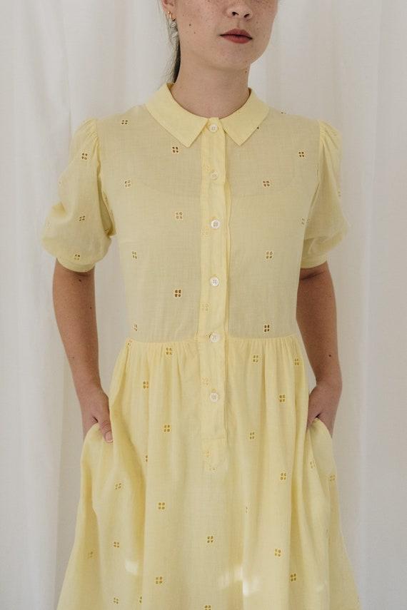 Yellow Cotton Puff Sleeve Dress - image 3