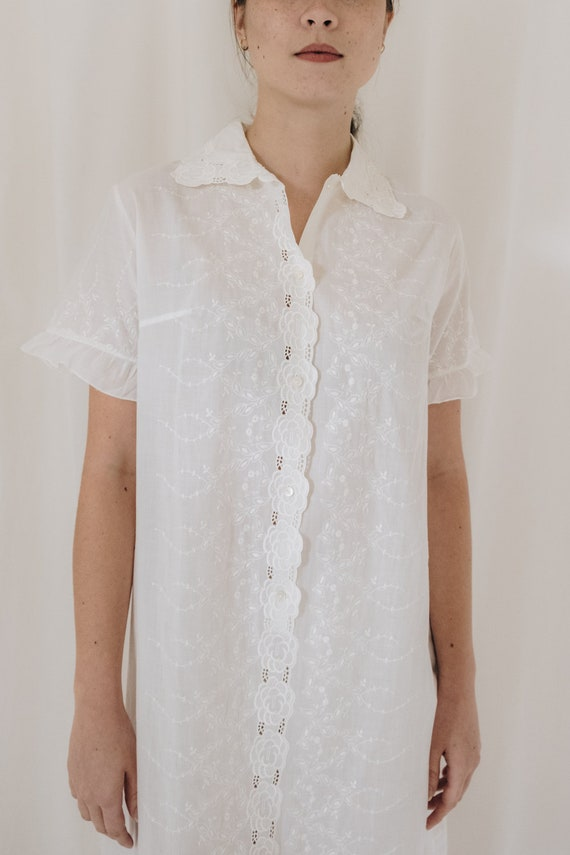 White Cotton Embroidered Button Down Dress - image 3
