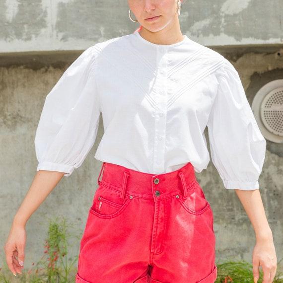Vintage White Blouse , 3/4 Sleeved Blouse , Vintag