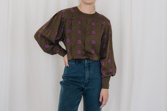 Silk Olive Printed Puff Sleeve Blouse - image 1