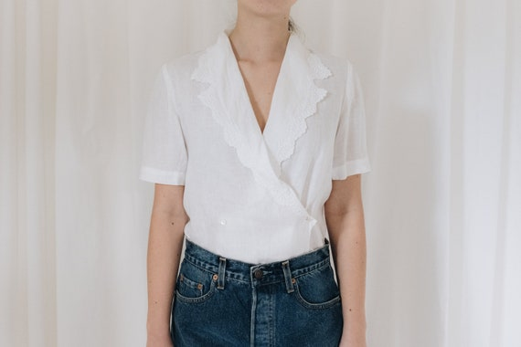 White Linen Double Breasted Blouse - image 1