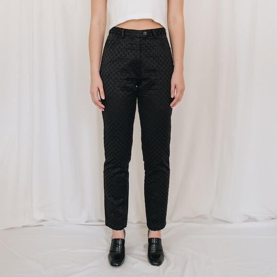 Satin Black Textured Pants