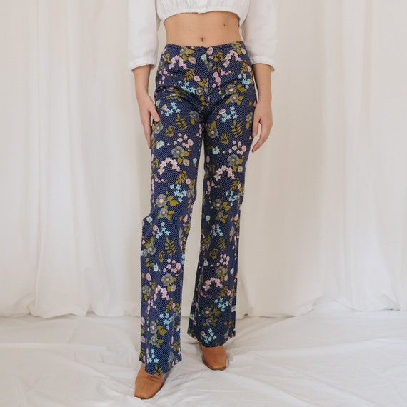 Cotton Mid Rise Navy Floral Flared Pants