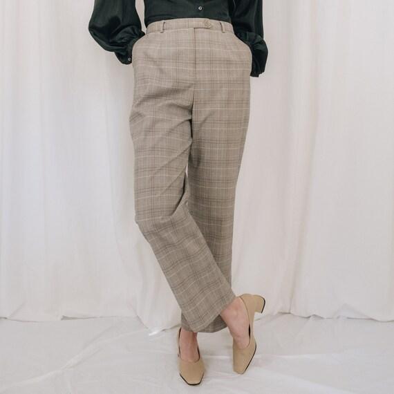 Cream Neutral Plaid Trousers
