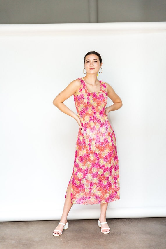 Multicolored Mesh Floral Maxi Dress, 1990s Polyest