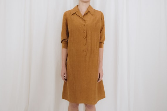 Raw Silk Cinnamon Puff Sleeve Dress