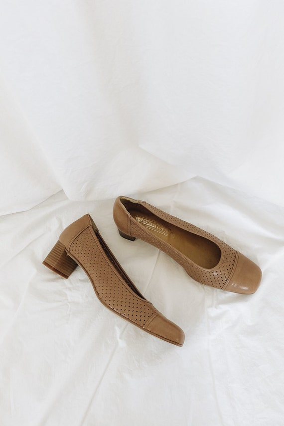Leather Tan Square Toe Low Heels