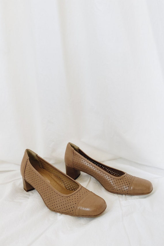 Leather Tan Square Toe Low Heels - image 2