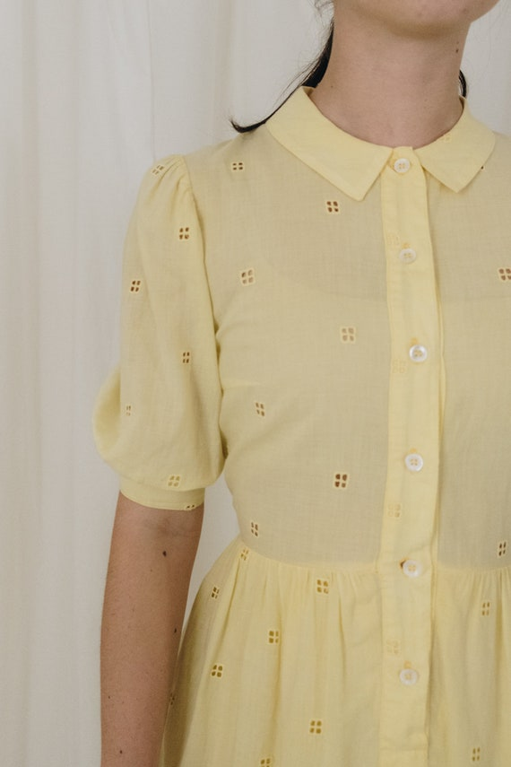 Yellow Cotton Puff Sleeve Dress - image 4